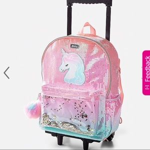 Justice Luggage Backpack Sequin Unicorn Rolling